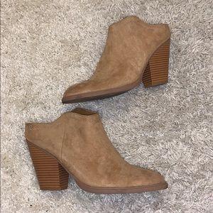 tan mule booties